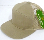 Blank 7 Panel  Mesh Hats/Caps Wholesale -  Khaki
