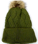 Wholesale Winter Fashion Fur Pom Pom Knit Beanies - Olive