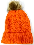 Wholesale Winter Fashion Fur Pom Pom Knit Beanies - Orange