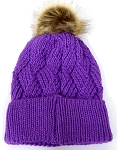 Wholesale Winter Fashion Fur Pom Pom Knit Beanies - Purple