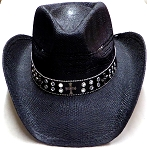 Cowboy Hat Wholesale Cross- Beads & Buttons - Toasted Straw   Black