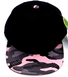 KIDS Junior Wholesale Blank Snapback Hats  -    Black  Pink Camo