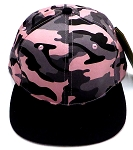 KIDS Junior Wholesale Blank Snapback Hats  - Pink Camo   Black