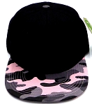 Wholesale Blank Snapback Caps - Black Pink Camo