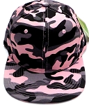 Wholesale Blank Snapback Caps - Pink Camo - Solid