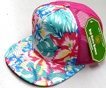 Wholesale Mesh Trucker 5 Panel Snapback Caps - Khaki Hibiscus  Hot Pink