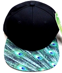 6-Panel Blank Strapback Hats Caps Wholesale - Peacock feathers
