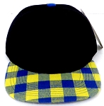 KIDS Jr. Snapback Hats Wholesale Plaid   Black  Gold