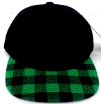 KIDS Jr. Snapback Hats Wholesale Plaid   Black  Green