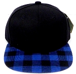 KIDS Jr. Snapback Hats Wholesale Plaid   Black  Royal