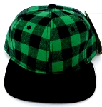 KIDS Jr. Snapback Hats Wholesale Plaid   Green Black