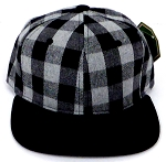 KIDS Jr. Snapback Hats Wholesale Plaid   Grey Black