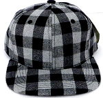 KIDS Jr. Snapback Hats Wholesale Plaid   Grey