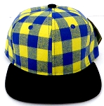 KIDS Jr. Snapback Hats Wholesale Plaid   Gold Black