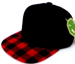 INFANT Snapback Hats Wholesale  Plaid - Black Red