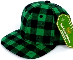 INFANT Snapback Hats Wholesale  Plaid - Green