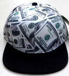 Wholesale Blank Dollar Bill Snapbacks Hats | US $100 Dollar   Black