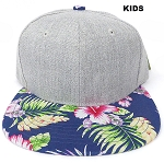 KIDS JUNIOR Bulk Blank Snapback Caps - Grey Denim | Navy