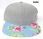 KIDS JUNIOR Bulk Blank Snapback Caps - Grey Denim | Blue