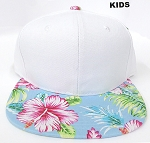 KIDS JUNIOR Bulk Blank Snapback Caps - White | Blue