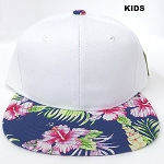 KIDS JUNIOR Bulk Blank Snapback Caps - White | Navy