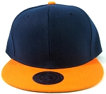 Blank Plain Vintage Snapback Hats Green Underbill Wholesale - Two Tone Navy / Orange
