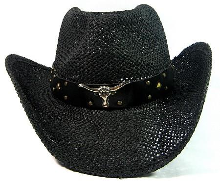 Wholesale Western Cowboy Hats Straw Black Raffia Outback Toyo Cowgirl Hat e9b0c6a12a6