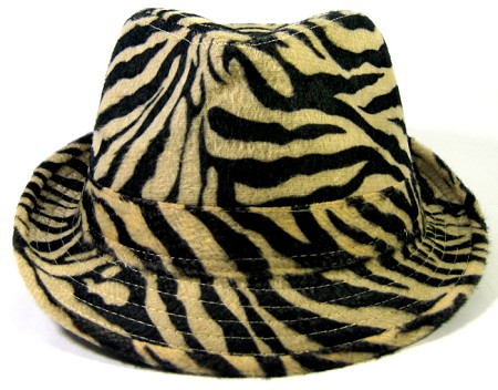 Fedora Hats Wholesale - Animal Print Zebra - Black/Light ( left 2 pcs)