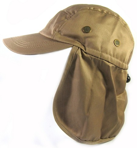Ear Flap Baseball Cap Style Sun Protection Hats Wholesale - Khaki Brown
