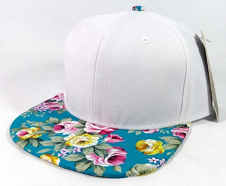 Wholesale Blank Floral Snapback Hats - White | Turquoise Flowers