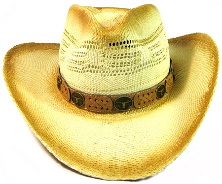 Cowboy Western Straw Hat Wholesale - Brown Band & Longhorn Button