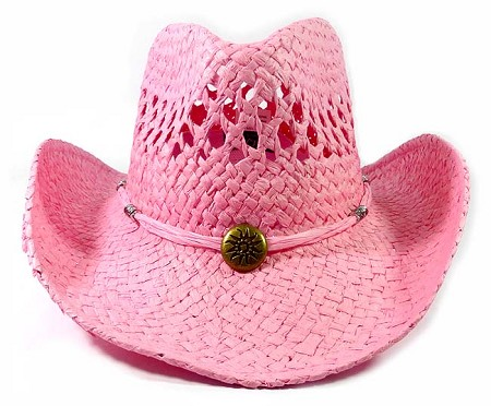 Wholesale Western Cowboy Straw Hats - Light Pink