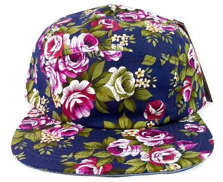 Wholesale 5 Panel Blank Floral Camp Hats - All Flower Navy ( left 12 pcs)