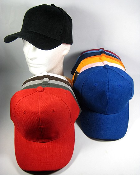 Baseball BLANK Caps - Plain ACRYLIC (Polyester) Hats Wholesale - All Colors