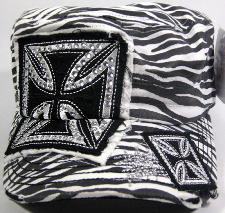 Distressed Cowgirl Rhinestone Zebra Chopper Vintage Cadet Hat