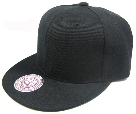 Blank Plain Vintage Snapback Flat Bill / Green Underbill Hat Wholesale - Solid Black
