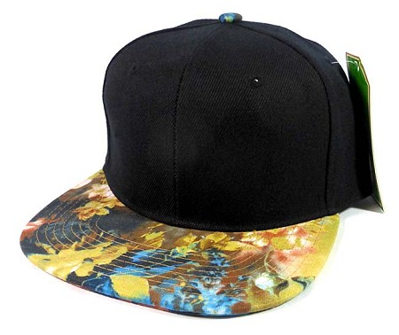Wholesale Blank Floral Snapback Hats Caps - Black | Nature Print