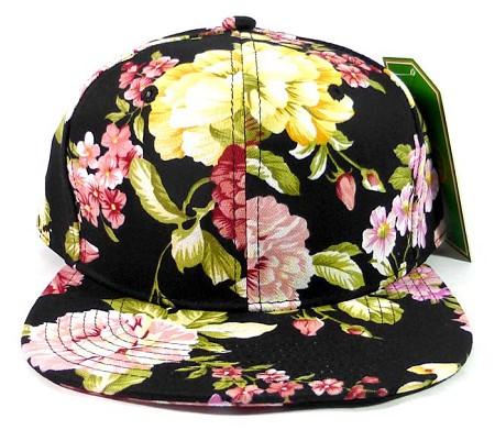 Wholesale Blank Floral Snapback Hats Orange Flower Print Black Brim Bulk 47a8fe3356