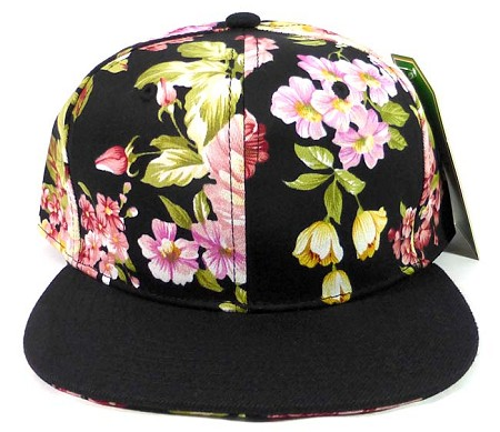 Wholesale Blank Floral Snapback Hats Caps - Black Flower | Black Brim