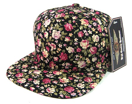 Plain Floral Snapback Hats Wholesale - All Flower | Small Black