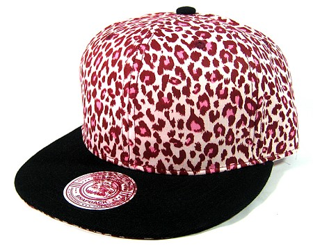 Blank Vintage Cheetah Snapbacks Hats Wholesale - Pink Crown