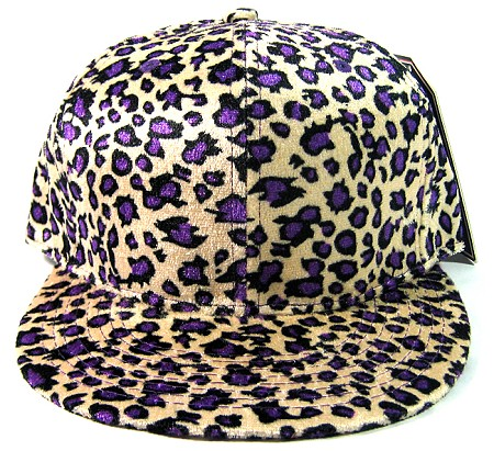 Plain Leopard/Cheetah Snapback Hats Wholesale - Shiny Purple