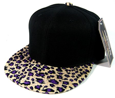 Plain Leopard/Cheetah Snapback Hats Wholesale - Black | Shiny Purple
