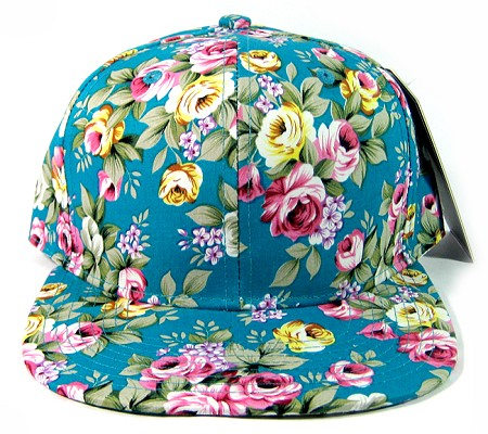 Wholesale Blank Floral Snapback Hats - All Floral | Turquoise Blue