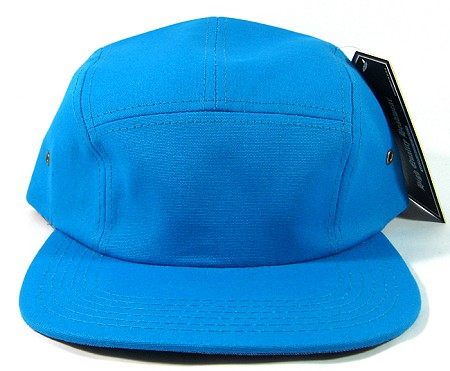 Blank 5 Panel Camp Hats/Caps Wholesale - Turquoise Blue