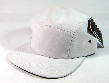 Blank 5 Panel Camp Hats/Caps Wholesale - White