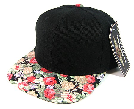 Wholesale Blank Floral Snapback Hats - Black | Red Flowers