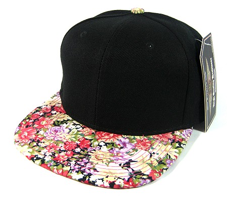Wholesale Blank Floral Snapback Hats - Black | Various Red Flowers