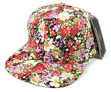 Wholesale Blank Floral Snapbacks Caps - All Floral | Various Red Flower