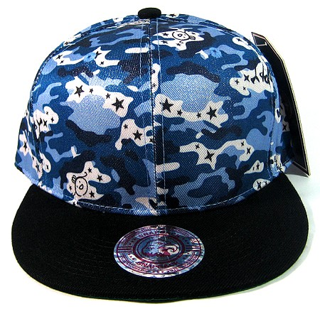 Wholesale Blank Snapback Hats - Blue Camo | Black Brim